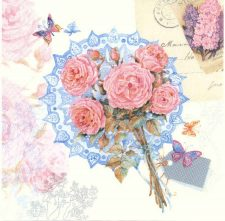 Decoupage Napkins | Rose Napkins |Bouquet of Roses and Butterflies | Paper Napkins for Decoupage
