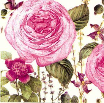 Decoupage Napkins | Rose Garden Napkins |Romantic Pink Roses |Paper Napkins for Decoupage