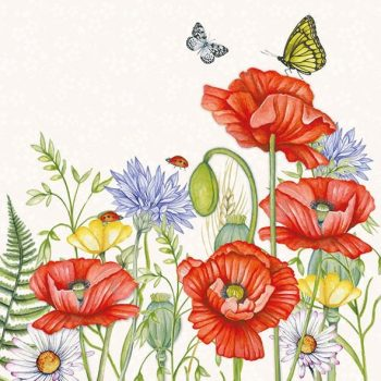 Event Paper Napkins Wild Red Poppies Wildflowers