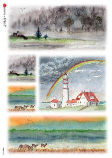 Italian Rice Paper Lighthouse Rainbow Mulberry Paper