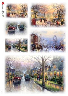 Italian Rice Paper for Decoupage Vintage Winter Streets