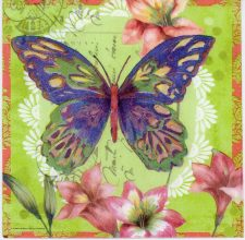 Decoupage Paper Napkin of Aporia Butterfly with Flowers | Paper Napkins for Decoupage