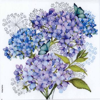 Decoupage Paper of Blue Hydrangeas and Butterfly | Paper Napkins for Decoupage