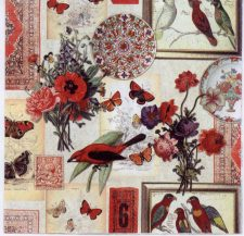 Decoupage Paper of Collage of Robin Butterflies Birds Roses   Paper Napkins for Decoupage