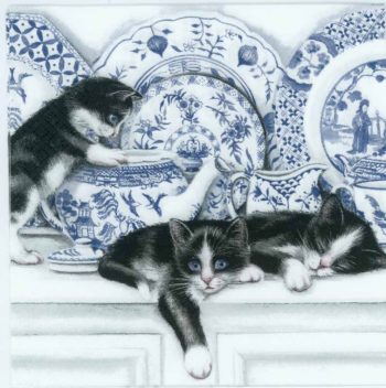 Decoupage Napkins of Black Cats and Blue China   Paper Napkins for Decoupage