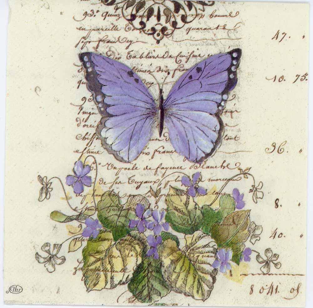 Decoupage Paper Of Romantic Blue Butterfly Chiarotino
