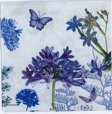 Decoupage Paper of Blue Flowers & Butterflies in a Garden | Paper Napkins for Decoupage