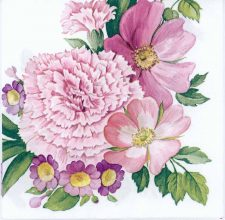 Decoupage Paper of Pink Carnation Wreath | Paper Napkins for Decoupage
