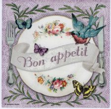 Decoupage Paper Napkins of Lunch Plate with a Bird and Butterflies | Paper Napkins for Decoupage
