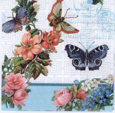 Decoupage Napkins of Butterflies Flowers and Lace   Paper Napkins for Decoupage