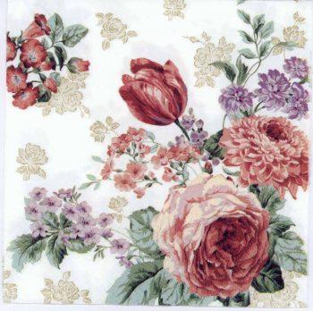Decoupage Paper   Roses Tulips Hydrangeas Napkins
