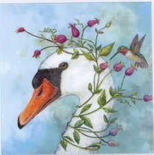 Decoupage Paper of a Goose and Hummingbird   Paper Napkins for Decoupage