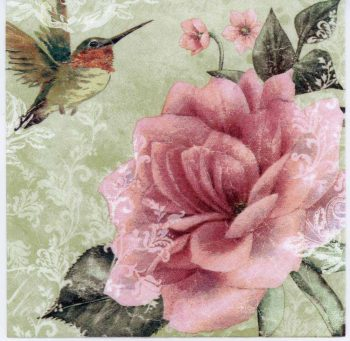 Decoupage Paper of Hummingbird and Pink Rose | Paper Napkins for Decoupage
