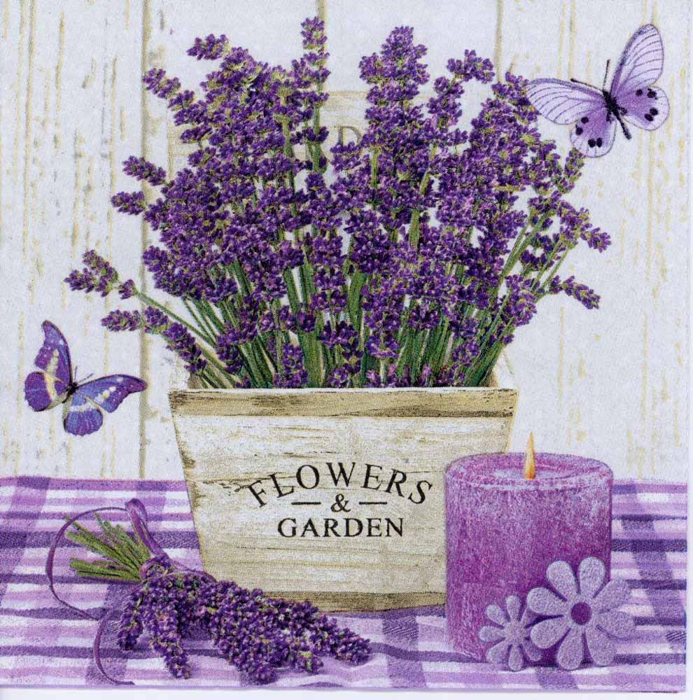 Decoupage Paper Napkin Of Lavender Pot Candle And