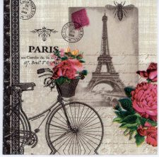 Decoupage Paper of Paris Bicycle with Flowers   Paper Napkins for Decoupage