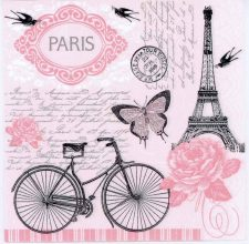 Eiffel Tower Paris Bicycle Roses Butterfly | Paper Napkins for Decoupage