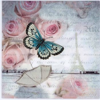Decoupage Paper Napkins of Paris Romance Eiffel Tower Roses Butterfly | Paper Napkins for Decoupage