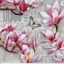 Decoupage Paper Napkins of Pink Lilacs and Butterflies | Paper Napkins for Decoupage