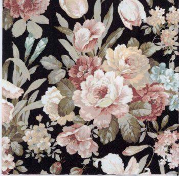 Decoupage Paper Napkins of a Romantic Rose Garden on Black   Paper Napkins for Decoupage