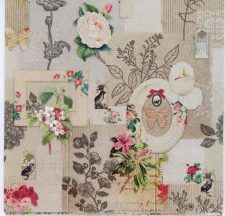 Decoupage Paper of Vintage Roses Birds and Butterflies with Frames | Paper Napkins for Decoupage