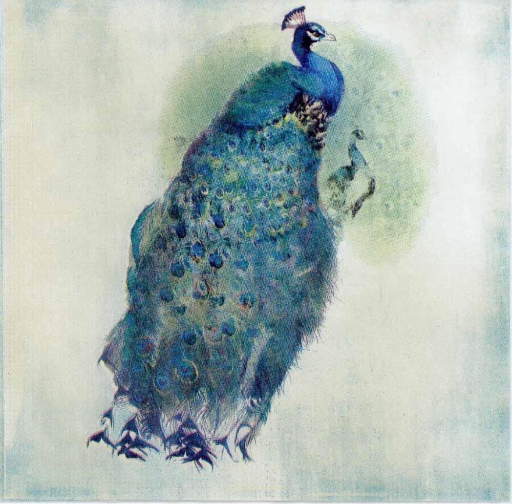 Decoupage Paper Of A Royal Blue Peacock Chiarotino