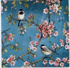 Decoupage Paper Napkins of Birds and Cherry Blossoms | Paper Napkins for Decoupage