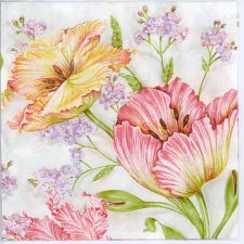 Decoupage Napkins of Pink Pastel Tulips | Paper Napkins for Decoupage