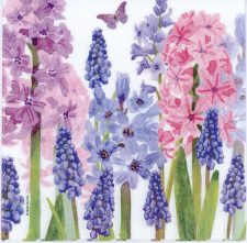 Decoupage Paper Napkin of Blue and Purple Hyacinth Flowers | Paper Napkins for Decoupage