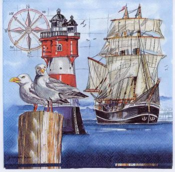 Decoupage Paper Napkins of Harbor Seagulls with Lighthouse and Tall Ship | Paper Napkins for Decoupage