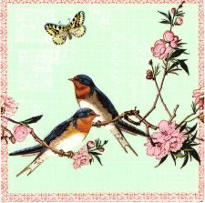 Decoupage Napkins | Bird Napkins | Swallows and a Butterfly |Paper Napkins for Decoupage