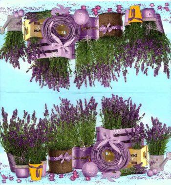Decoupage Napkin  Lavender Flower Pots in Garden   Lavender Napkins  Paper Napkins for Decoupage
