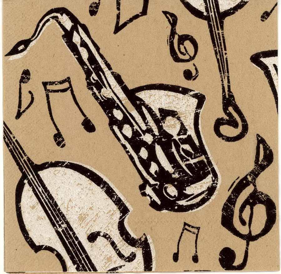 Decoupage Paper Napkins Of Musical Instruments Bebop Jazz