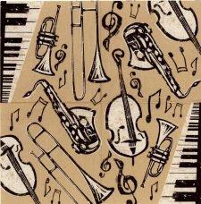 Decoupage Napkins|Bebop Jazz Instruments | Music Napkins|Jazz Napkins|Piano Napkins| Saxophone Bass Horn | Paper Napkins for Decoupage