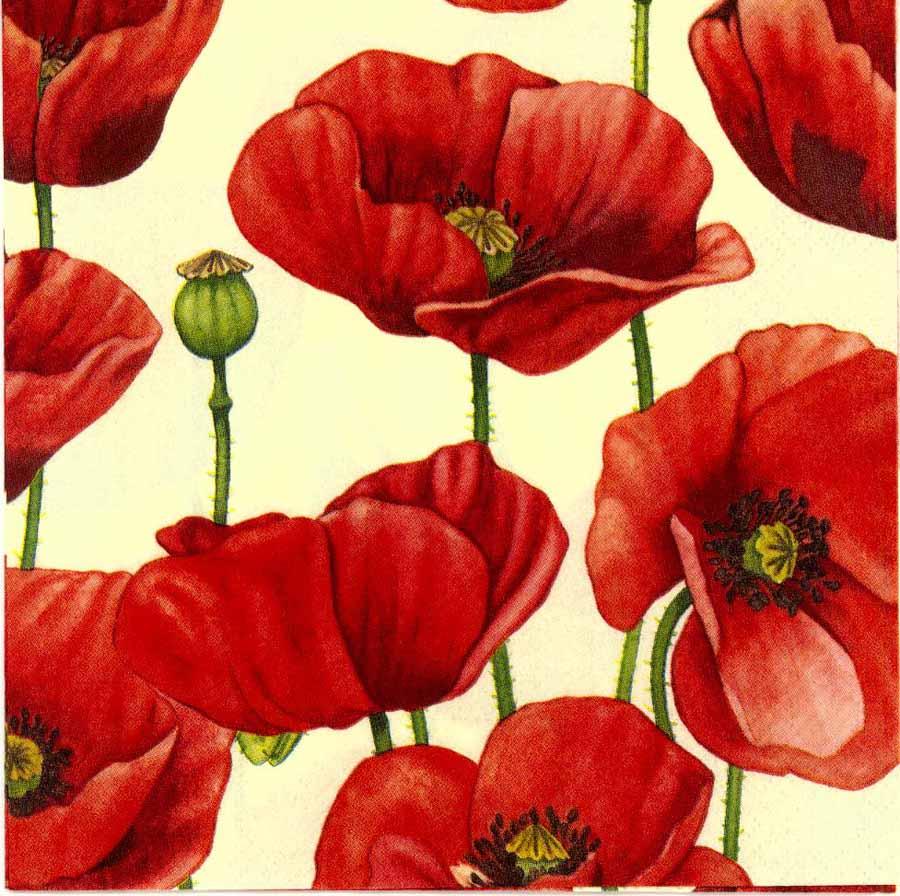 Decoupage Paper Napkins Of Field Of Red Poppies Chiarotino
