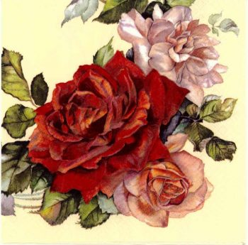 Decoupage Napkins   Rose Napkins   Garland of Red and Pink Roses   Paper Napkins for Decoupage