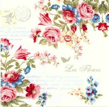 Decoupage Napkins | Rose Napkins | French Roses and Postmark | Paper Napkins for Decoupage