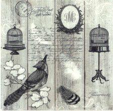 Decoupage Napkins |Vintage Bird with Birdcage and Postmark |Bird Napkins | Paper Napkins for Decoupage