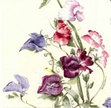 Decoupage Napkins | Wildflower Napkins | Wild Sweet Peas in Watercolor |Paper Napkins for Decoupage