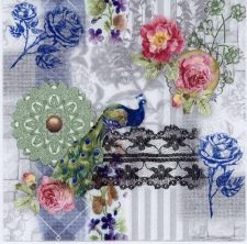 Decoupage Napkins of Peacock and Blue and Pink Roses | Paper Napkins for Decoupage