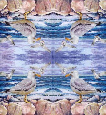 Decoupage Paper Napkins of Seagulls on Ocean Rocks   Paper Napkins for Decoupage