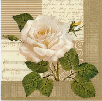 Decoupage Paper Napkin of White Rose and Music | Paper Napkins for Decoupage