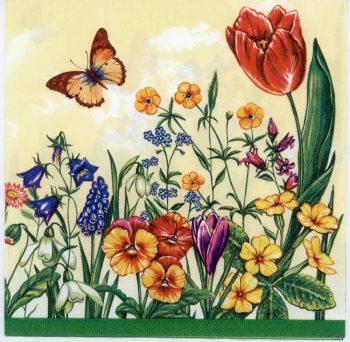 Decoupage Paper Napkins of Wild Flower Garden Tulips Butterflies on Cream | Paper Napkins for Decoupage