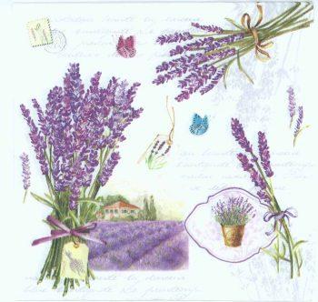 Lavender Bouquets and Butterflies | Lavender Napkins | Paper Napkins for Decoupage