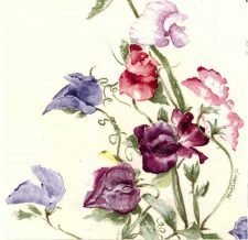 Decoupage Napkins | Wildflower Napkins | Wild Sweet Peas in Watercolor | Paper Napkins for Decoupage