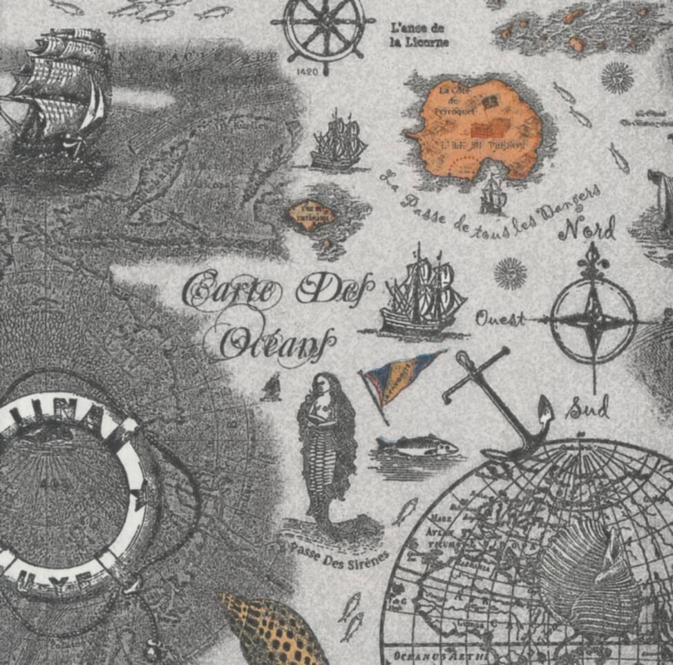 Decoupage Paper Napkins of Vintage Sea Map Napkins